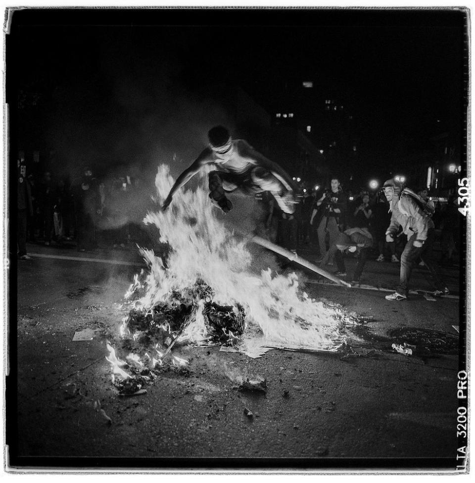 Post presidential election riots oakland ca camera rolleiflex wide 55 f4 film ilford delta 3200 pro exposure data pushed 3 stops exposure 1 125