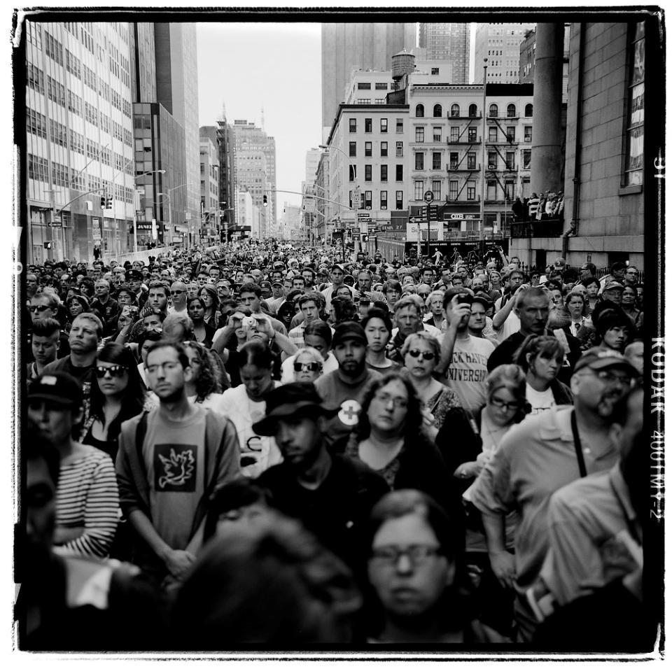 Reading of names gathering at ground zero new york ny camera rolleiflex 3 5e3 planar film kodak tmax 400 exposure data not available