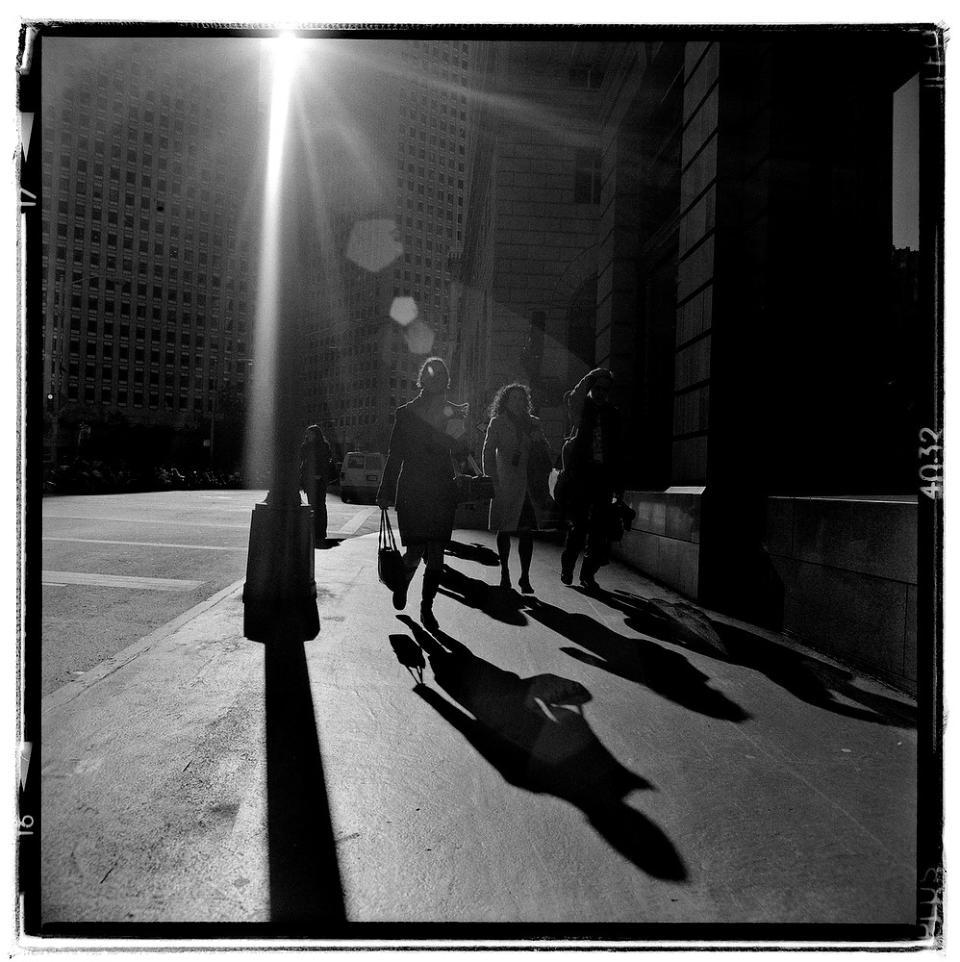 Commuters in financial district san francisco ca camera rolleiflex 3 5e3 planar film ilford hp5 plus exposure 1 500 f8