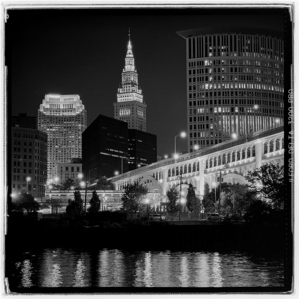 Downtown skyline during republican national convention cleveland oh camera rolleiflex tele 135 f4 film ilford delta 3200 pro exposure 10 sec f8