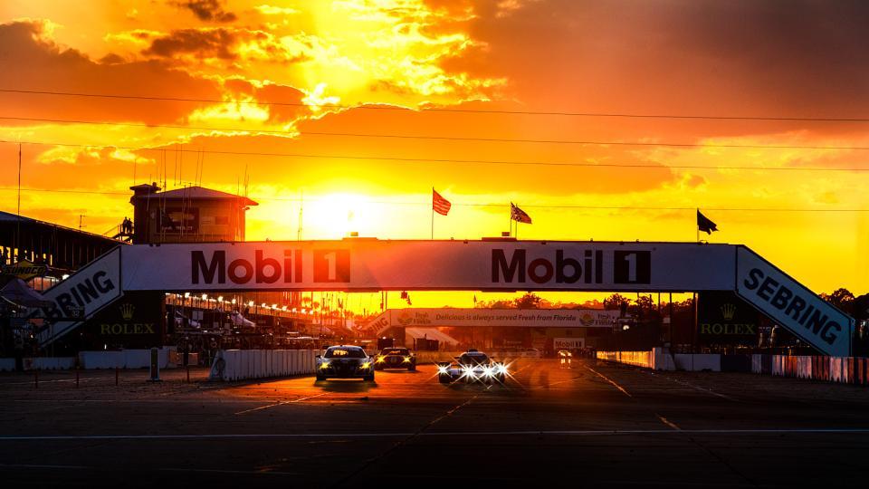 Sunset at Sebring International Raceway during the Twelve Hours of Sebring endurance race
