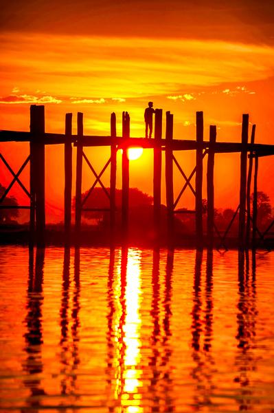 U Bein Bridge image corrected with nik's Pro Contrast filter. by David Cardina, cardinalphoto.com